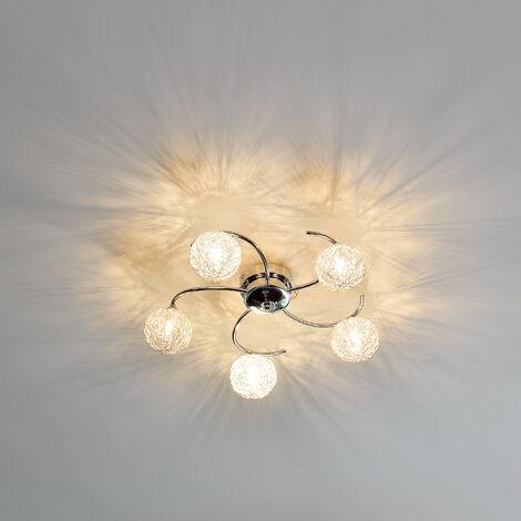 Plafoniera / Lampadario - Metal Globe - di - Design moderno: intreccio di palline di alluminio, metallo & plastica cromo - Ø 52cm lampada - 5 x G9 base - per salotto & stanza da letto