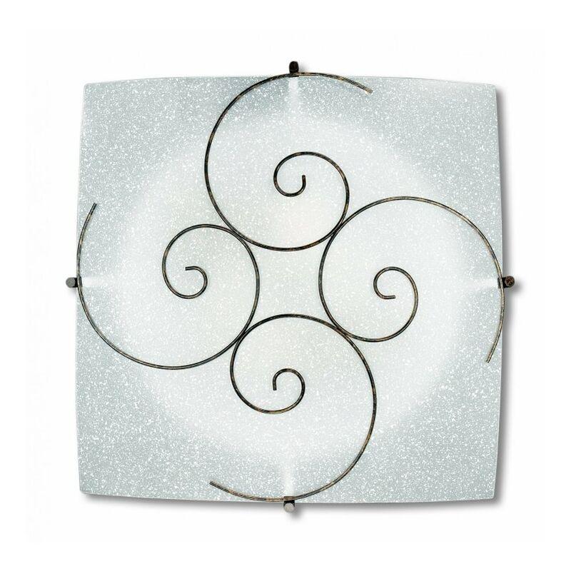 Plafoniera bianca con decoro dalla forma a spirale 60 watt E27 - I-070207-4