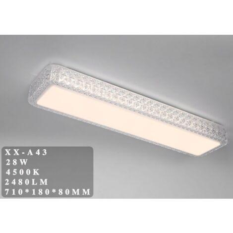 Plafoniera LED 28W rettangolare lunga con cristalli sfaccettati
