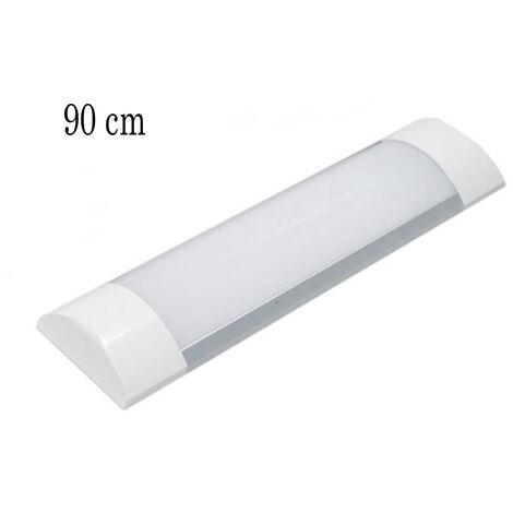 Plafoniera led 90cm luce fredda soffitto 30w slim smd 220v lampada silver