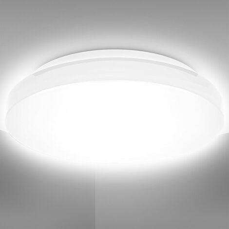 Plafoniera LED da bagno 10W, luce bianca naturale 4000K, LED integrati 900Lm, lampadario bagno resistente agli schizzi d'acqua IP44, Ø22cm, versione S, lampada da soffitto moderna, plastica, 230V