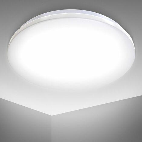 Plafoniera LED, lampada da soffitto o parete per bagno, luce bianca naturale 4000K, LED integrati 12W, 1200Lm, à˜29cm, lampadario resistente agli schizzi d'acqua IP44, plafoniera moderna, plastica 230V