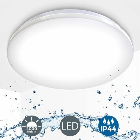 Plafoniera LED, lampada da soffitto o parete per bagno, luce bianca naturale 4000K, LED integrati 18W, 1600Lm, à˜38.2cm, lampadario resistente agli schizzi d'acqua IP44, moderna, plastica 230V