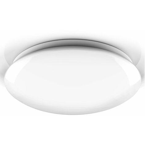 Plafoniera LED, lampadario bagno a luce bianca naturale 4000K, LED integrati 18W, 1600Lm, diametro 38.5cm, lampada da soffitto resistente agli schizzi d'acqua IP44, plafoniera moderna, plastica 230V