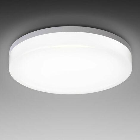 Plafoniera LED, lampadario bagno a luce bianca naturale 4000K, LED integrati 18W, 2400 Lm, lampada da soffitto resistente agli schizzi d'acqua IP54, plafoniera moderna diametro 28cm, plastica, 230V