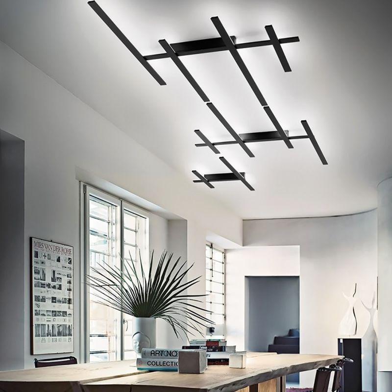 Plafoniera moderna giarnieri rake axl 70.2w led dimmerabile alluminio lampada soffitto parete, finitura metallo nero opaco