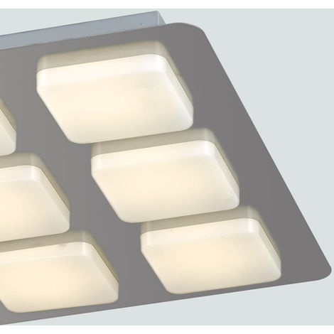 Plafoniera Moderna Soffitto.Plafoniera Moderna Quadrata Metallo Acrilico 9 Luci Soffitto Led 54 Watt Luce Calda Ambiente Led Madison Q9
