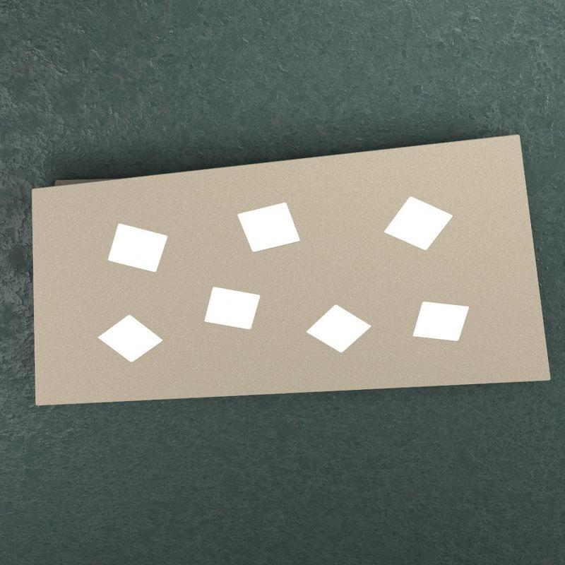 Top Light - Plafoniera note 1140 7 gx53 led metallo bianco grigio sabbia lampada soffitto parete rettangolare moderna interno, finitura metallo sabbia