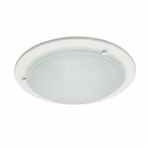 plafoniera tonda in vetro curvato 220-240 volt 305 mm CE E27 IP20 bianco interno kan 70784