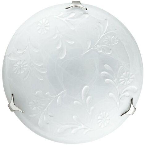 Plafoniera Tonda Vetro Alabastro Bianco Decoro Floreale Bianco Classica E27 Ambiente 206/02700
