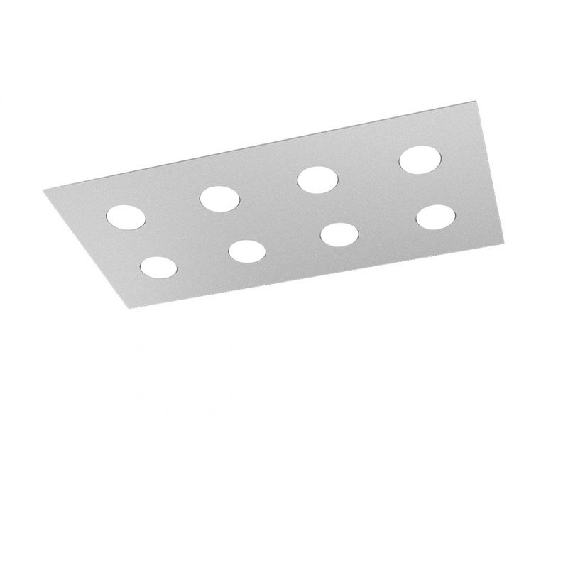 Plafoniera area 1127 pl8 r gx53 led 80x40 metallo lampada soffitto moderna interno, finitura metallo grigio - Top Light