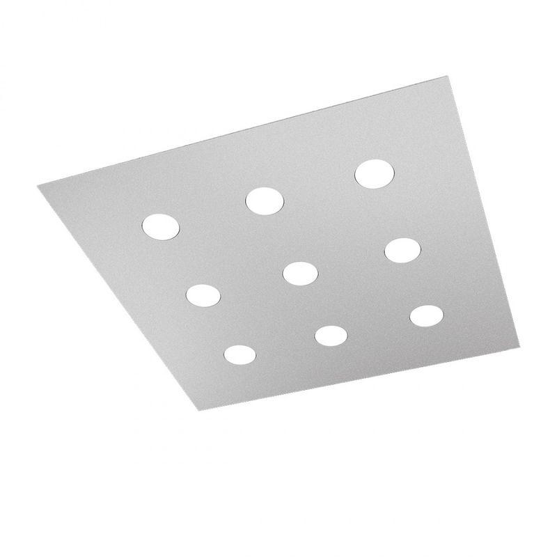 Plafoniera top light area 1127 pl9 gx53 led 80x80 metallo lampada soffitto parete moderna interno, finitura metallo grigio