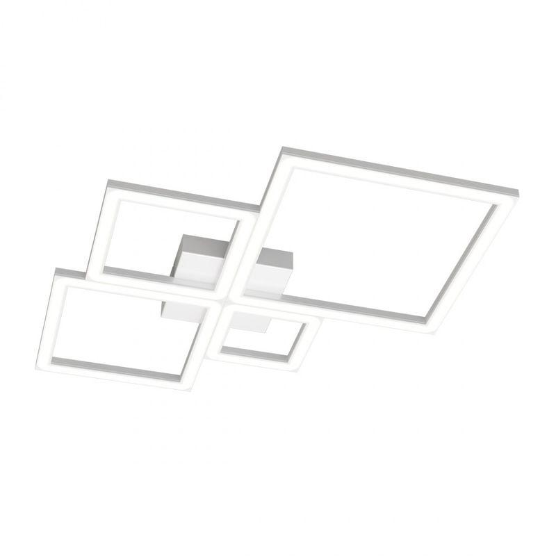 Plafoniera top light four squares 1162 69w led 4950lm lampada soffitto ultramoderna interno, finitura metallo bianco