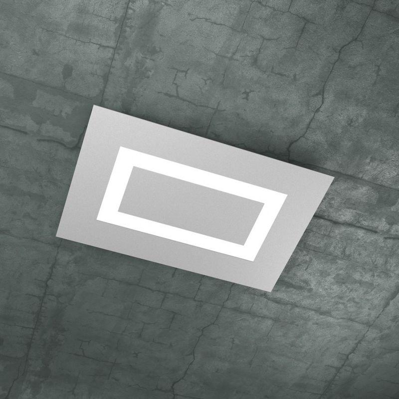 Top Light - Plafoniera tp-carpet 1137 rp 2g11 60w led 5900lm rettangolare metallo metacrilato bianco sabbia grigio lampada soffitto moderna, finitura