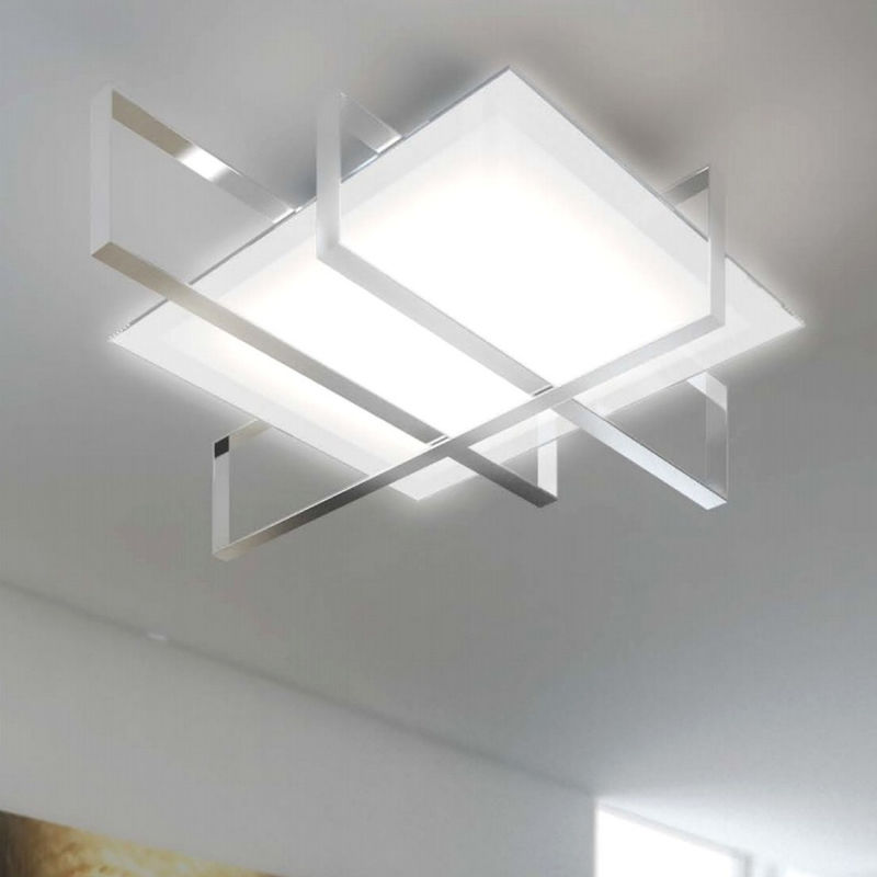 Top Light - Plafoniera tp-cross 1106 100 e27 60w lampada soffitto moderno vetro metallo, finitura metallo cromo lucido
