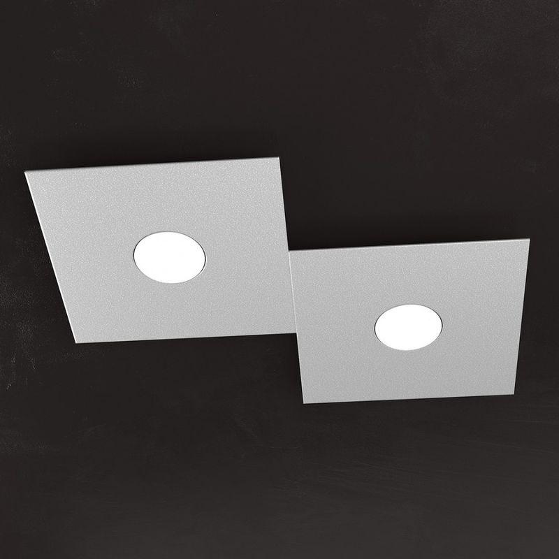 Plafoniera tp-eccentric 1156 2l gx53 led metallo quadrato lampada parete soffitto rettangolare moderna interno, finitura metallo grigio