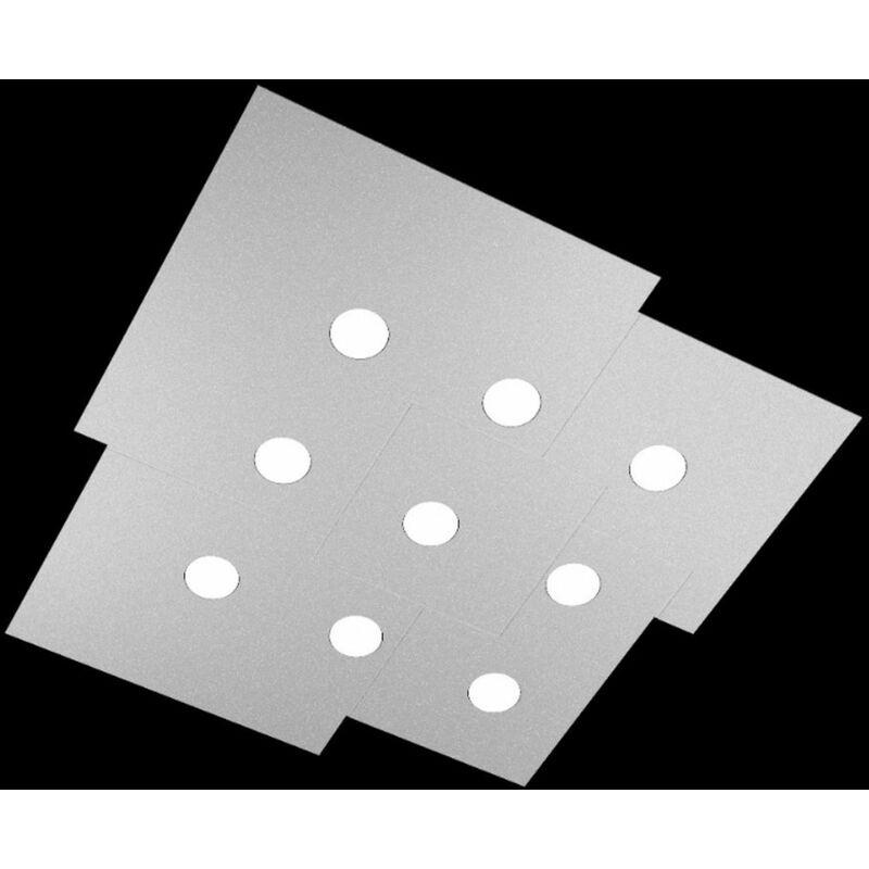 Top Light - Plafoniera tp-plate 1129 pl9 81w gx53 led 91x89 metallo bianco grigio sabbia lampada soffitto moderna quadrata, finitura metallo grigio