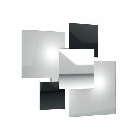 Plafoniera tp-shadow 1088 pl70 e27 led vetro colorato decorato lampada parete soffitto moderna quadrata interno