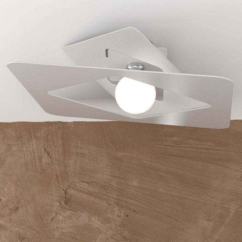 Top Light - Plafoniera tp-wacky e27 led 60x60 metallo bianco grigio sabbia lampada soffitto ultramoderna quadrata interno, finitura metallo grigio