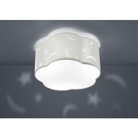 Plafonnier 3 lampes design Trio Moony Blanc Métal - Tissus 602300301