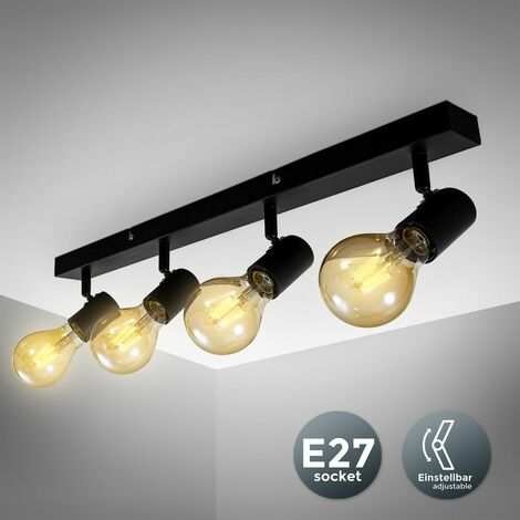 Plafonnier 4 spots design rétro Vintage douilles E27 spots plafond salon salle à manger couloir