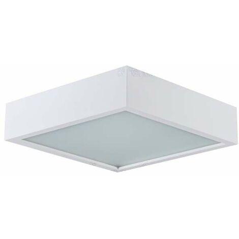 Plafonnier à Culot 3 x E27 carré Blanc mat