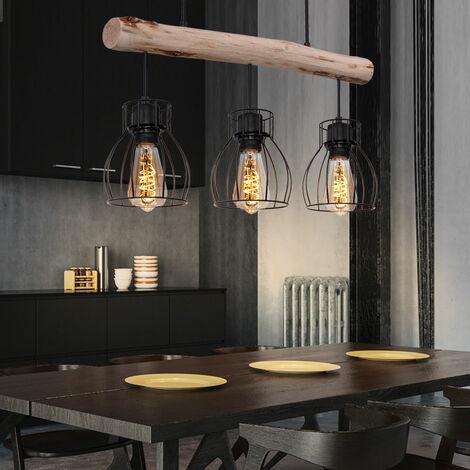 Plafonnier à pendule rétro FILAMENT Suspension à poutres en bois design avec l'ensemble des lampes LED