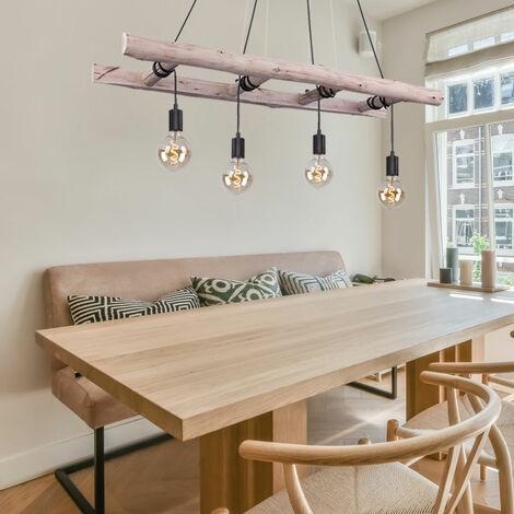 Plafonnier à suspension pendulaire FILAMENT en bois avec échelle, lampe à suspension, variateur de lumière réglable
