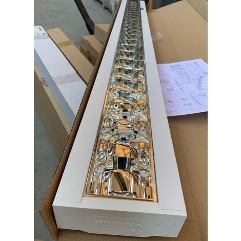 Plafonnier apparent fluo tube T5 35/49/80W (non incl) 1495x146x58mm detecteur presence ballast HFR DALI 230V IK07 IP20 KLINO