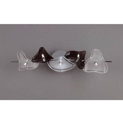 Plafonnier/Applique Otto 5 Ampoules G4 Bar, chrome poli/verre dépoli/verre noir
