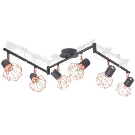 Plafonnier avec 6 projecteurs E14 Noir et cuivre