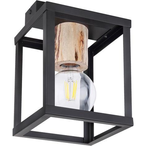 Plafonnier bois naturel lampe spot noir mat éclairage chambre vintage Globo 15476D