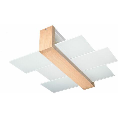 Plafonnier bois Plafonniers modernes plafonnier chambre lampe de cuisine bois, verre satiné, 2x E27 LxPxH 43x43x12 cm