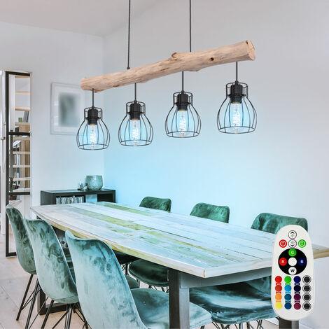 Plafonnier bois poutre télécommande suspension lampe dimmable dans un ensemble comprenant un éclairage LED RGB