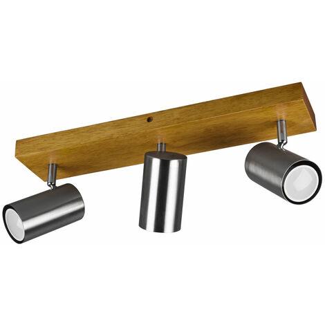 Plafonnier bois projecteurs pivotant salon salle à manger éclairage spot lampe argent