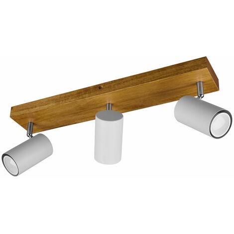 Plafonnier bois projecteurs pivotant salon salle à manger éclairage spot lampe gris