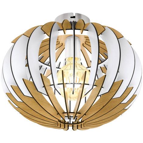 Plafonnier bois salon éclairage lattes lampe design nature blanc Eglo 32844