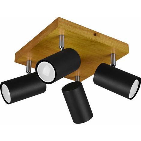 Plafonnier bois spot noir -matt pivotant salon salle à manger éclairage spot lampe marron