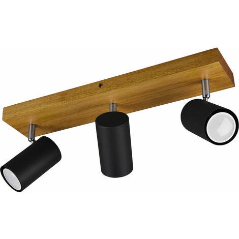 Plafonnier bois spots pivotant salon salle à manger éclairage spot lampe marron