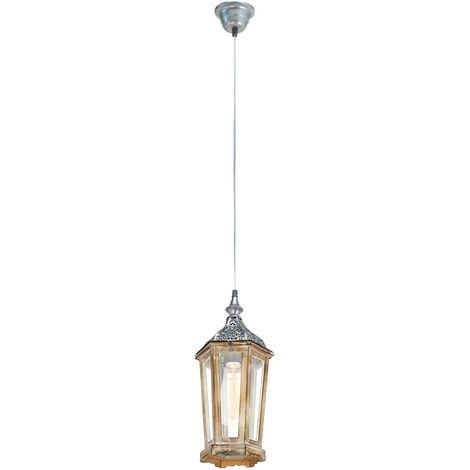 Plafonnier bois suspendu lanterne salon jardin d'hiver pendule brun argent clair Eglo 49206E