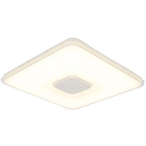Plafonnier carré avec télécommande LED dim pour chauffer - Seoul Qazqa Moderne Luminaire interieur Carré