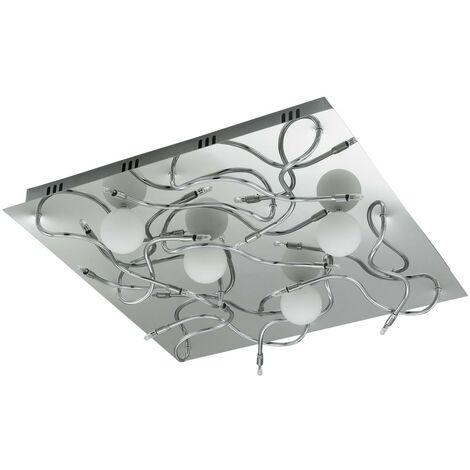 Plafonnier carré en chrome et verre