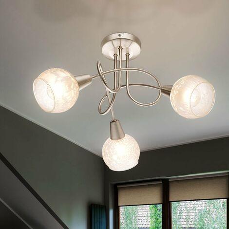 Plafonnier Chambre d'amis cuisine boule verre lampe spot éclairage fleur glace Globo 54987-3