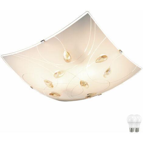 Plafonnier Chambre d'amis luminaire cuisine Ambre Lampe éclairage chrome satiné dans l'ensemble LED