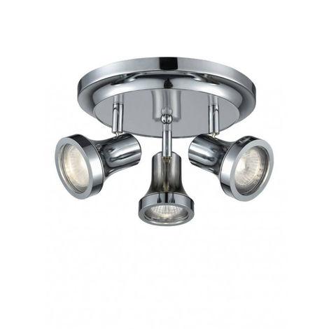 Plafonnier chrome IP44 3 Ampoules