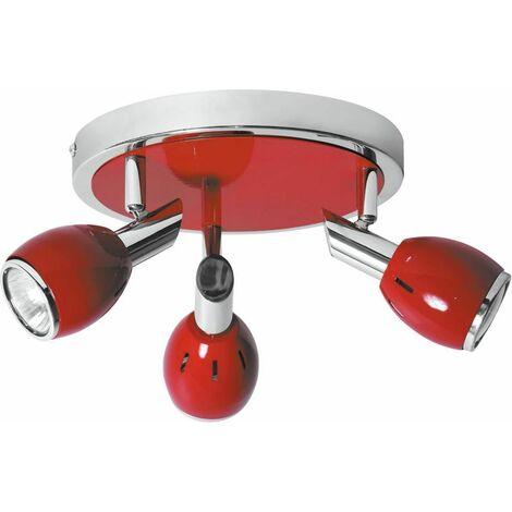 Plafonnier Colors, Rouge & Chrome, 3x GU10, Max.50W, IP20, 230V, Classe I