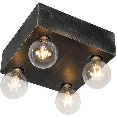 Plafonnier Country bois noir 4 lumières - Bloc Qazqa Rustique Luminaire interieur
