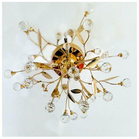 Plafonnier cristal doré - Gutenstein 6 lumières - Doré / Laiton