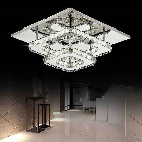 Cristal Plafond Acier Plafonnier Inoxydable Led Lampe Miroir 36w De YIgvbf76y