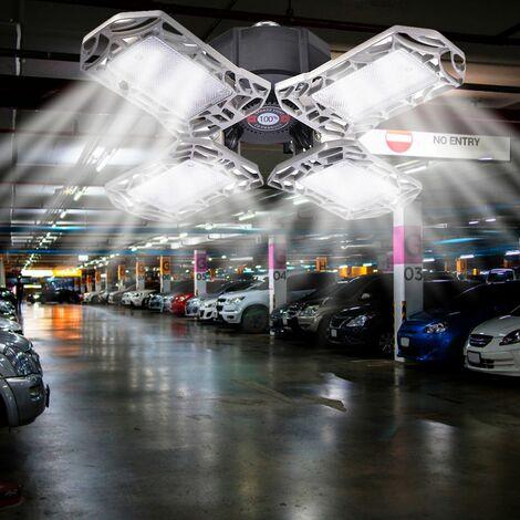 Plafonnier de garage déformable pliable de lumière de garage mené 4 panneaux 96mené 12000LM 85-265V argent 120W paquet unique